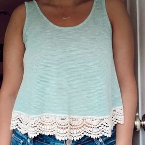 Trendy Turquoise Lace Bottom Knit tank top